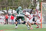 Palos Verdes, CA 04/20/10 - Chris Rendon (Palos Verdes #13), Grant Cigliano (Palos Verdes #5) and Tom Farrell (Mira Costa #18) in action during the Mira Costa-Palos Verdes boys lacrosse game.