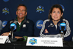 04 December 2008: Head coach Randy Waldrum and junior Courtney Rosen. The Notre Dame Fighting Irish held a press conference at WakeMed Soccer Park in Cary, NC one day before their NCAA Women's College Cup semifinal game.