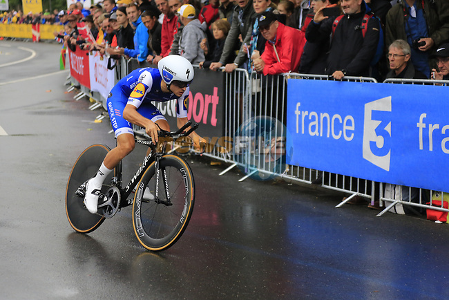Gianluca Brambilla (ITA) Quick-Step Floors in action during Stage 1, a 14km individual time trial around Dusseldorf, of the 104th edition of the Tour de France 2017, Dusseldorf, Germany. 1st July 2017.<br /> Picture: Eoin Clarke | Cyclefile<br /> <br /> <br /> All photos usage must carry mandatory copyright credit (&copy; Cyclefile | Eoin Clarke)