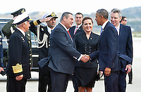 Pictured: US President Barack Obama is greeted by Minister for Defence Panayiotis Kammenos upon his arrival at the Eleftherios Venizelos Airport in Athens, Greece. Tuesday 15 November 2016<br /> Re: US President Barack Obama state visit to Greece