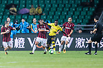 Borussia Dortmund Midfielder Ousmane Dembele (R) fights for the ball with AC Milan Midfielder Mateo Musacchio (L) during the International Champions Cup 2017 match between AC Milan vs Borussia Dortmund at University Town Sports Centre Stadium on July 18, 2017 in Guangzhou, China. Photo by Marcio Rodrigo Machado / Power Sport Images