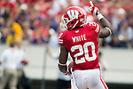 Wisconsin Badgers running back James White (20) celebrates a touchdown during an NCAA football game against the Tennessee Tech Golden Eagles  Saturday, September 7, 2013, in Madison, Wis. (Photo by David Stluka)