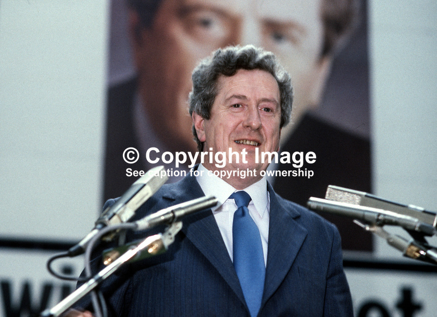 Garret Fitzgerald, TD, leader, Fine Gael, addresses his party's annual Ard Fheis, party conference, in Dublin, Rep of Ireland, 198103000057GF3.<br />