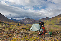 Tent camp in Angiaak Pass, Gates of the Arctic National Park, Alaska