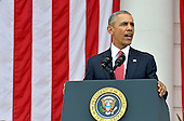 United States President Barack Obama makes remarks at the Amphitheater after laying a wreath at the Tomb of the Unknown Soldier at Arlington National Cemetery, Arlington, Virginia, on Memorial Day, May 30, 2016, near Washington, DC. Obama paid tribute to the nation's military service members who have fallen. <br /> Credit: Mike Theiler / Pool via CNP