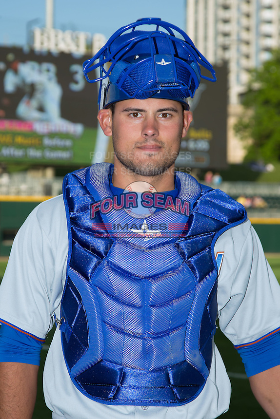 Durham Bulls catcher Luke Maile (46) poses for a photo prior to the game against the Charlotte Knights at BB&T BallPark on April 14, 2016 in Charlotte, North Carolina.  The Bulls defeated the Knights 2-0.  (Brian Westerholt/Four Seam Images)