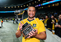 Leroy Houston of Australia poses with the trophy after the match. The Rugby Championship match between Argentina and Australia on October 8, 2016 at Twickenham Stadium in London, England. Photo by: Patrick Khachfe / Onside Images