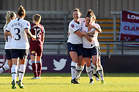 Emma Mitchell of Tottenham Hotspur women is congratulated after scoring the first goal during Tottenham Hotspur Women vs West Ham United Women, Barclays FA Women's Super League Football at the Hive Stadium on 12th January 2020