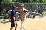 in The Broadway Show League (softball) has teams from the Broadway shows who play each other on April 29. 2010 and Thursdays throughout the summer in Central Park, New York City, New York. (Photo by Sue Coflin/Max Photos)