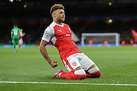 Alex Oxlade-Chamberlain of Arsenal celebrates after he scores his team's 3rd goal of the game to make it 3-0 during the UEFA Champions League match between Arsenal and PFC Ludogorets Razgrad at the Emirates Stadium, London, England on 19 October 2016. Photo by David Horn / PRiME Media Images.