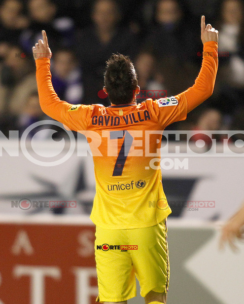 FC Barcelona's David Villa celebrates goal during Spanish King's Cup match.October 30,2012. (ALTERPHOTOS/Acero) /NortePhoto