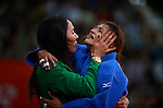 LONDON, ENGLAND - JULY 28:  Sarah Menezes of Brazil celebrates a point over Alina Dumitru en route to her gold medal in the women's Judo Final during Day 2 of the Swimming Finals as part of the London 2012 Olympic Games on July 28, 2012 at the Excel Center in London, England. (Photo by Donald Miralle)