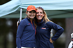 CHAPEL HILL, NC - OCTOBER 13: Virginia's Kate Harper (left) with head coach Kim Lewellen (right). The first round of the Ruth's Chris Tar Heel Invitational Women's Golf Tournament was held on October 13, 2017, at the UNC Finley Golf Course in Chapel Hill, NC.