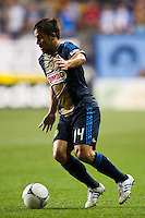 Danny Cruz (44) of the Philadelphia Union. The Columbus Crew defeated the Philadelphia Union 2-1 during a Major League Soccer (MLS) match at PPL Park in Chester, PA, on August 29, 2012.
