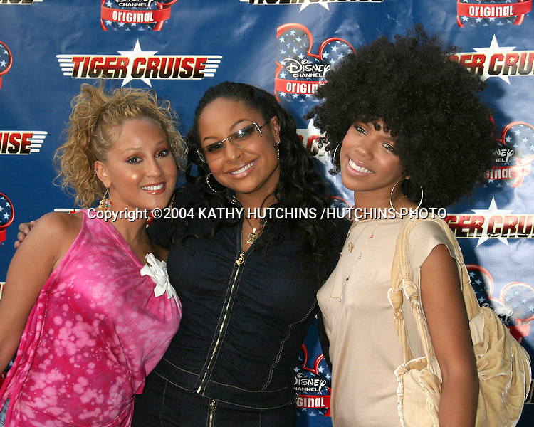 "©2004 KATHY HUTCHINS /HUTCHINS PHOTO.PREMIERE OF ""TIGER CRUISE"".HOLLYWOOD, CA.JULY 27, 2004..ADRIENNE BAILON.RAVEN SYMONE.KIELY WILLIAMS"