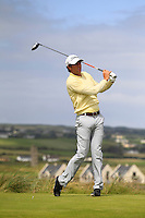 Robert Cannon (Balbriggan) on the 2nd tee during the Quarter Finals of The South of Ireland in Lahinch Golf Club on Tuesday 29th July 2014.<br /> Picture:  Thos Caffrey / www.golffile.ie