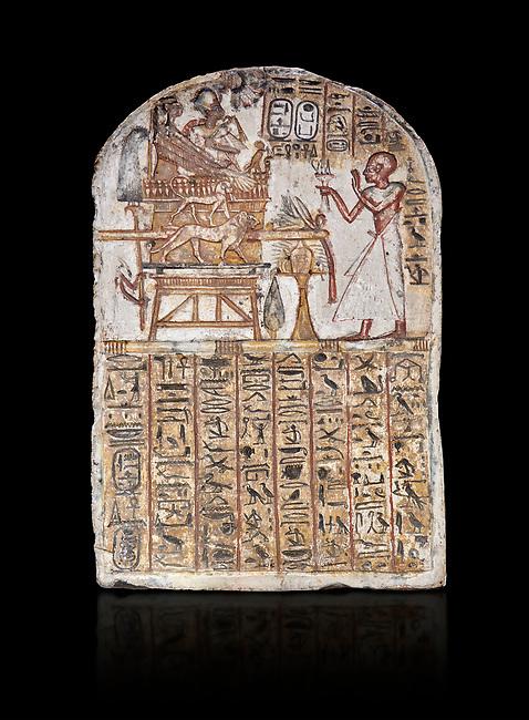 Ancient Egyptian Stele of Amenemope dedicated to Amenhotep I and Ahmose-Nefertari, limestone, New Kingdom, 19th Dynasty, (1279-1213 BC), Deir el-Medina, Drovetti cat 1452. Egyptian Museum, Turin. black background.