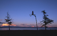 24 JUN 2002 - KHOVSGOL NATIONAL PARK, MONGOLIA - A basketball hoop stands on the shore of Khovsgol Nuur in Mongolia showing the popularity of the sport even in the remote areas of the world. (PHOTO (C) NIGEL FARROW)