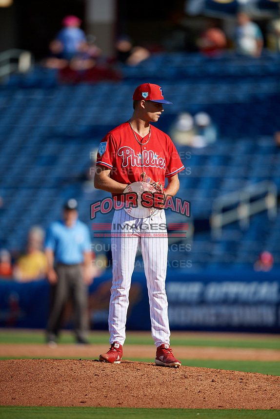 Philadelphia Phillies relief pitcher Tyler McKay (85) looks in for the sign during a Grapefruit League Spring Training game against the Baltimore Orioles on February 28, 2019 at Spectrum Field in Clearwater, Florida.  Orioles tied the Phillies 5-5.  (Mike Janes/Four Seam Images)