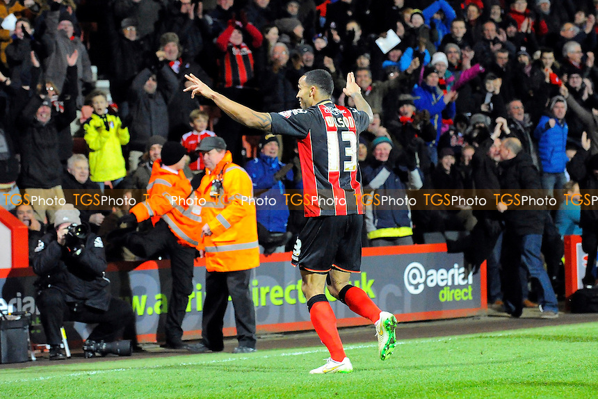 Callum Wilson of AFC Bournemouth celebrates his goal with the home fans - AFC Bournemouth vs Derby County - Sky Bet Championship Football at the Goldsands Stadium, Bournemouth, Dorset - 10/02/15 - MANDATORY CREDIT: Denis Murphy/TGSPHOTO - Self billing applies where appropriate - contact@tgsphoto.co.uk - NO UNPAID USE