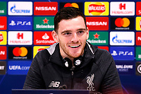26th November 2019; Anfield, Liverpool, Merseyside, England; UEFA Champions League, Liverpool versus Napoli, Press Conferences; Andy Robertson of Liverpool speaking to the media during today's press conference at Anfield ahead of tomorrow's Champions League group match against SSC Napoli - Editorial Use
