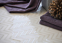 Raj, a handmade mosaic shown in honed Paperwhite and polished Cloud Nine is part of The Studio Line of Ready to Ship mosaics. All mosaics in this collection are ready to ship within 48 hours. <br /> For pricing samples and design help, click here: http://www.newravenna.com/showrooms/