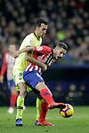 Club Atletico de Madrid's Koke Resurreccion (R) and Futbol Club Barcelona's Sergio Busquets during La Liga match. November 24,2018. (ALTERPHOTOS/Alconada)