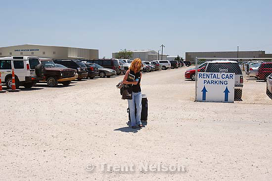 Brooke Adams at the Abilene airport, leaving texas after three weeks on the story