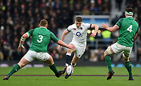 Owen Farrell of England grubbers the ball. Natwest 6 Nations match between England and Ireland on March 17, 2018 at Twickenham Stadium in London, England. Photo by: Patrick Khachfe / Onside Images