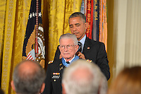 Washington DC, July 18, 2016, USA;  President Barack Obama awards the Medal of Honor to Lt. Col Charles Kettles, USA (ret) for his bravey in the Viet Nam war. Patsy Lynch/MediaPunch