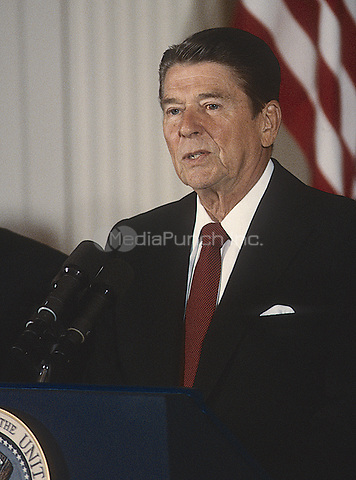 Washington DC., USA, July 24, 1984<br /> President Ronald Reagan News Conference <br /> Credit: Mark Reinstein Credit: Mark Reinstein/MediaPunch