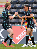 PICTURE BY MARK GREEN/SWPIX.COM...Rugby League - Carnegie Challenge Cup 4th Round  - London Broncos v Dewsbury Rams , 'The Stoop, Twickenham, England - 15/04/12... London Bronco's Kieran Dixon is congratulated on his 2nd try by Dan Sarginson