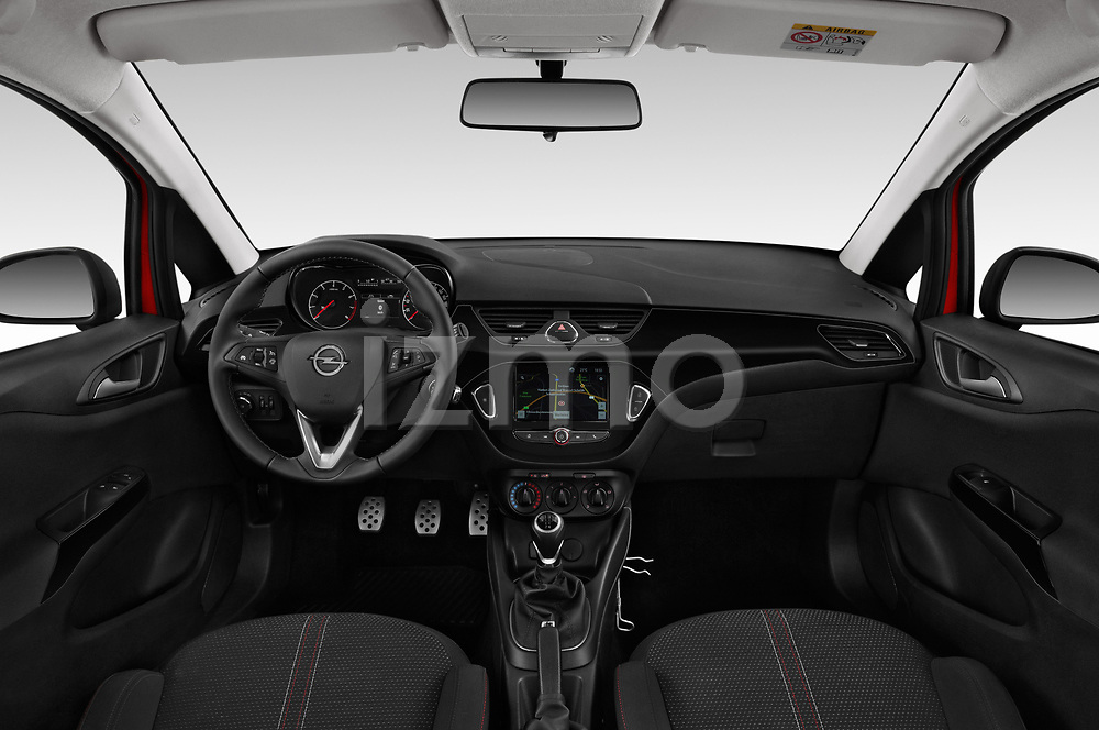 Stock photo of straight dashboard view of 2018 Opel Corsa Black-Edition 5 Door Hatchback Dashboard