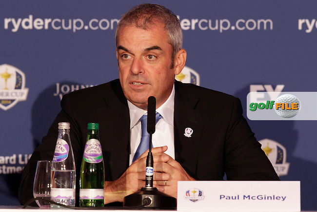 Ryder Cup Captains Paul McGinley and Tom Watson give there first joint press conference to assembled media as part of the Year To Go to the 2014 Ryder Cup at Gleneagles.<br /> Picture:  Thos Caffrey / www.golffile.ie
