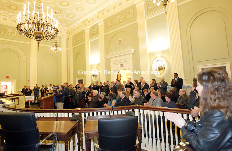 Waterbury, CT-30 November 2011-113011CM20-  A crowd gathered at City Hall  to witness Mayor Neil M. O'Leary taking his oath of office Thursday morning in Waterbury.   Christopher Massa Republican-American