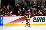 ST PAUL, MN - APRIL 7: Jared Thomas #22 of the Minnesota-Duluth Bulldogs celebrates his goal against the Notre Dame Fighting Irish during the Division I Men's Ice Hockey Semifinals held at the Xcel Energy Center on April 7, 2018 in St Paul, Minnesota. (Photo by Carlos Gonzalez/NCAA Photos via Getty Images)