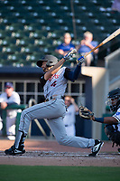Arkansas Travelers infielder Mike Ahmed (4) connects on a pitch during a Texas League game between the Northwest Arkansas Naturals and the Arkansas Travelers on May 30, 2019 at Arvest Ballpark in Springdale, Arkansas. (Jason Ivester/Four Seam Images)