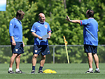 12 May 2006: Bruce Arena (r), head coach, talks with his assistants Curt Onalfo (l) and Glenn Myernick (center). The United States' Men's National Team trained at SAS Soccer Park in Cary, NC, in preparation for the 2006 FIFA World Cup tournament to be played in Germany from June 9 through July 9, 2006.
