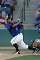 Ikko Sumi of the Rancho Cucamonga Quakes during game against the Stockton Ports at The Epicenter in Rancho Cucamonga,California on August 15, 2010. Photo by Larry Goren/Four Seam Images