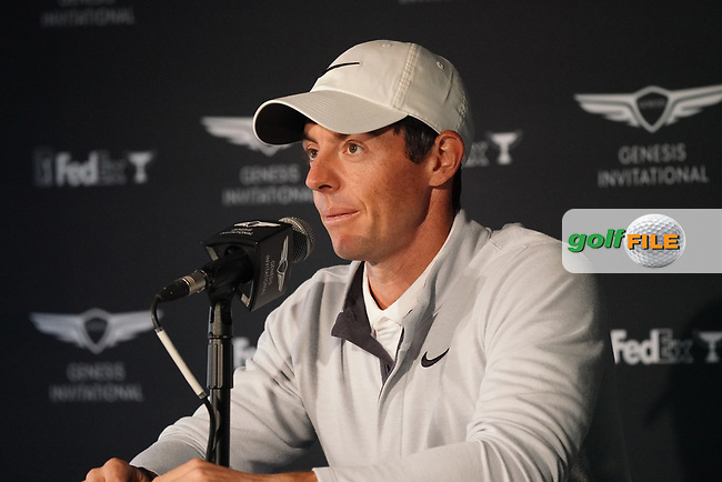 Rory McIlroy (NIR) in media interview ahead of the The Genesis Invitational, Riviera Country Club, Pacific Palisades, Los Angeles, USA. 11/02/2020<br /> Picture: Golffile | Phil Inglis<br /> <br /> <br /> All photo usage must carry mandatory copyright credit (© Golffile | Phil Inglis)