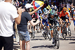 Felix Grossschartner (AUT) Bora-Hansgrohe attacks on the final climb of Stage 1 of the Vuelta a Burgos 2020, 42nd Edition, running 157km from the Catedral de Burgos to Mirador del Castillo Burgos, Spain. 28th July 2020. <br /> Picture: Bora-Hansgrohe/Luis Angel Gomez/BettiniPhoto | Cyclefile<br /> <br /> All photos usage must carry mandatory copyright credit (© Cyclefile | Bora-Hansgrohe/Luis Angel Gomez/BettiniPhoto)