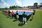 4 JUNE 2016: Volunteers help hold the flag during the National Anthem during the Division II Men's Baseball Championship between Millersville University and Nova Southeastern University at the USA Baseball National Training Complex in Cary, NC.  Nova Southeastern University defeated Millersville University 8-6 to win the national title. Grant Halverson/NCAA Photos