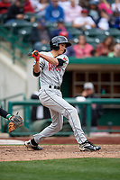 Wisconsin Timber Rattlers first baseman Ryan Aguilar (21) follows through on a swing during a game against the Fort Wayne TinCaps on May 10, 2017 at Parkview Field in Fort Wayne, Indiana.  Fort Wayne defeated Wisconsin 3-2.  (Mike Janes/Four Seam Images)