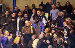 A Chelsea fan plays a trumpet but gets told to stop by the stewards as fellow fans react<br /> <br /> Barclays Premier League - Chelsea v AFC Bournemouth - Stamford Bridge - England - 5th December 2015 - Picture David Klein/Sportimage