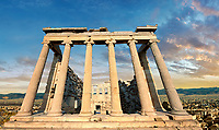 The Erechtheum ancient Greek temple, the Acropolis of Athens in Greece.