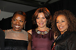 """Deb Koenigsberger (event chair) - Countess LuAnn de Lesseps (presenter) - Tamara Tunie (mistresses of ceremonies) of The Fourteenth Annual Hearts of Gold Gala """"Hooray for Hollywood!"""" - with its mission to foster sustainable change in lifestyle and levels of self-sufficiency for homeless mothers and their children on October 28, 2010 at the Metropolitan Pavillion, New York City, New York. (Photo by Sue Coflin/Max Photos)"""