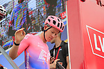 Lawson Craddock (USA) EF Education First at sign on before the start of Stage 4 of La Vuelta 2019 running 175.5km from Cullera to El Puig, Spain. 27th August 2019.<br /> Picture: Eoin Clarke | Cyclefile<br /> <br /> All photos usage must carry mandatory copyright credit (© Cyclefile | Eoin Clarke)