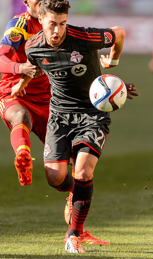 Trent Nelson  |  The Salt Lake Tribune<br /> Real Salt Lake forward Olmes Garcia (13) defends Toronto FC midfielder Jonathan Osorio (21) as Real Salt Lake hosts Toronto FC at Rio Tinto Stadium in Sandy, Sunday March 29, 2015.