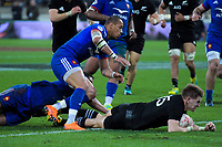NZ's Jordie Barrett scores his second try during the Steinlager Series international rugby match between the New Zealand All Blacks and France at Westpac Stadium in Wellington, New Zealand on Saturday, 16 June 2018. Photo: Dave Lintott / lintottphoto.co.nz