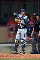 Atlanta Braves catcher Drew Lugbauer (51) during an Instructional League game against the Philadelphia Phillies on October 9, 2017 at the Carpenter Complex in Clearwater, Florida.  (Mike Janes/Four Seam Images)